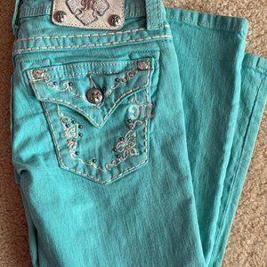 27x33 Miss Me jeans jp5415p3 MINT green Capri